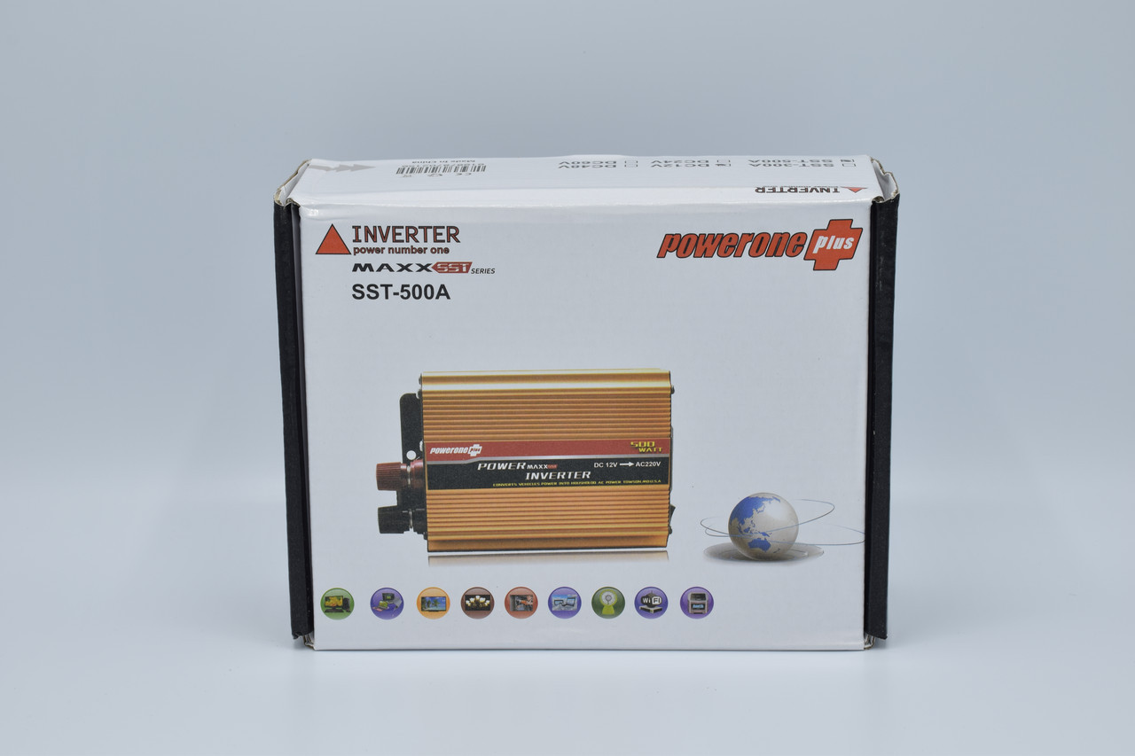 Автомобільний інвертор Powerone + 12-220V / 500W автомобільний перетворювач Powerone + 12-220V / 500W
