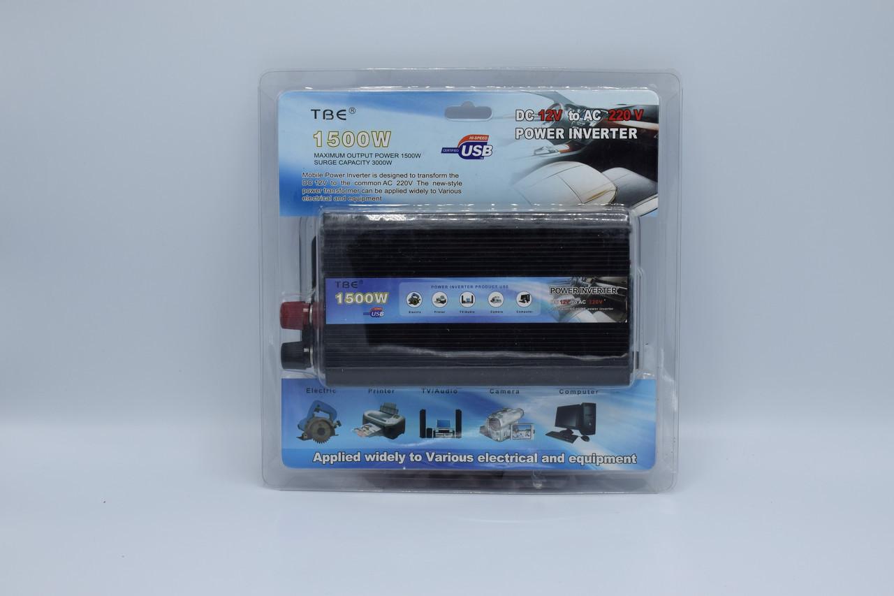 Автомобильный инвертор TBE 12-220V / 1500W автомобильный преобразователь TBE 12-220V / 1500W