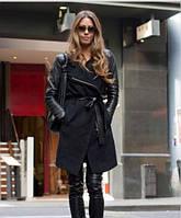 Модное пальто с рукавами из кож заменителей