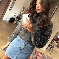 Женский кашемировый свитер с бусинами серый