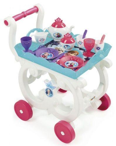 Сервировочный столик-тележка на колесиках с посудой Frozen Smoby 310549