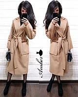 Пальто женское стильное миди свободный крой кашемир с поясом и карманами разные цвета Gmа882