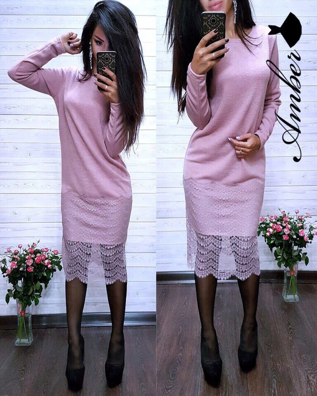 d0ab417484a Платье женское стильное теплое миди ангора и кружево. Большой выбор модных  платьев на нашем сайте.