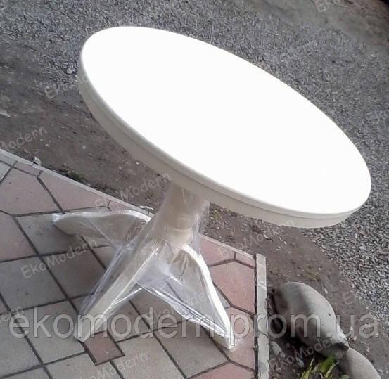 Стол белый  ЦЕЗАРЬ на одной ноге (круглый, квадратный)