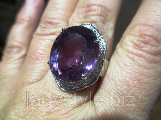 купить серебряное кольцо перстень с натуральным александритом украшения