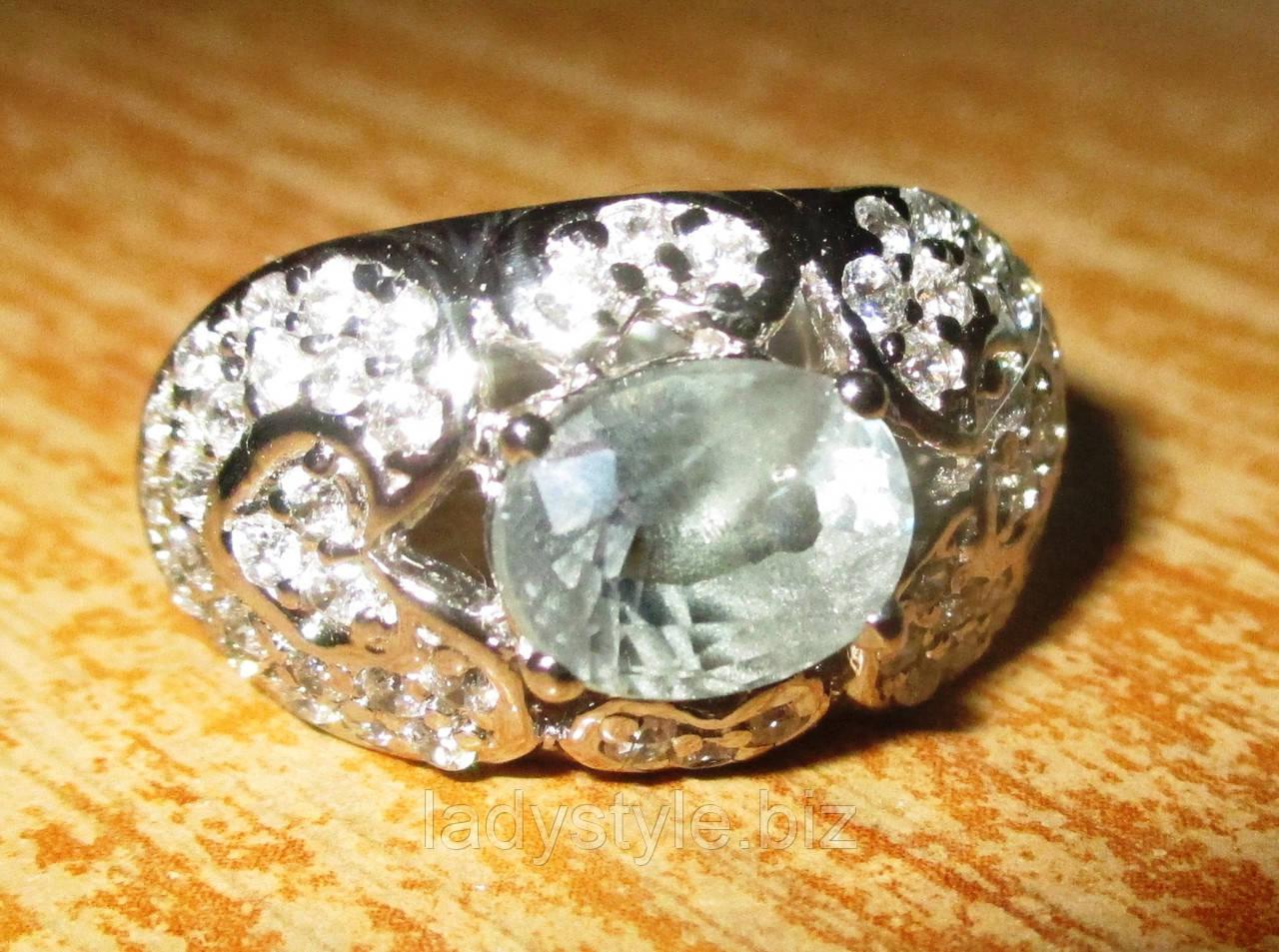 """Елегантний перстень з олександритом і сапфірами """"Красивий"""", розмір 17.5"""
