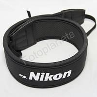 Ремень нашейный плечевой для фотоаппаратов Nikon с неопрена черный