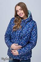 Двухсторонняя демисезонная куртка для беременных floyd (цветы на синем + голубой) s Юла мама