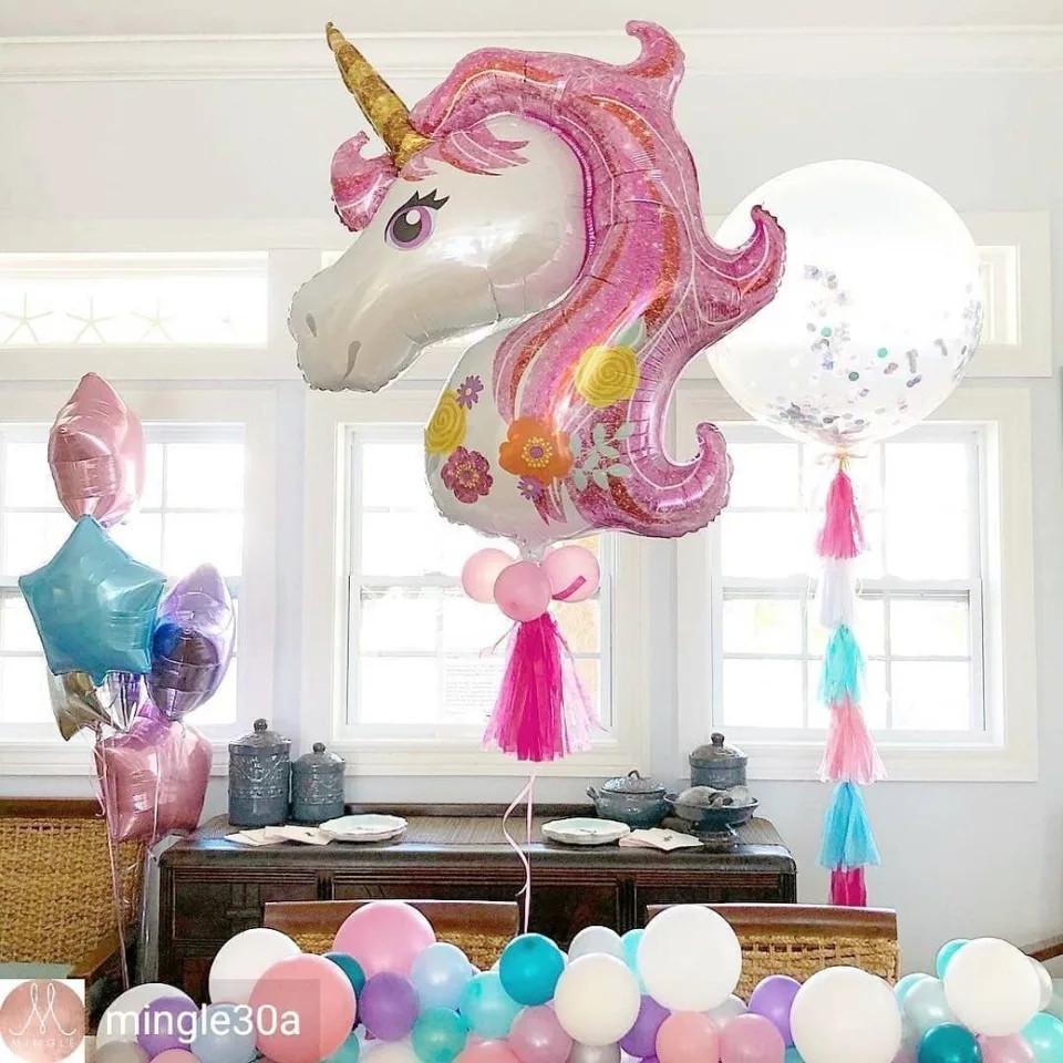"""Кулька повітряний фольгований , велика голова """"Єдиноріг"""" рожевий, розмір 110 × 80 см"""