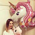 """Кулька повітряний фольгований , велика голова """"Єдиноріг"""" рожевий, розмір 110 × 80 см, фото 2"""