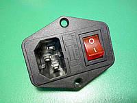 Входной модуль монтажный гнездо разъем штекер сетевой 3 контактный с предохранителем и клавишей, фото 1