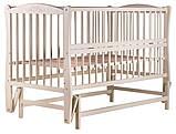 Кровать Babyroom Еліт резьба, маятник, откидной бок DER-6  бук слоновая кость, фото 2