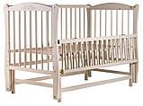 Кровать Babyroom Еліт резьба, маятник, откидной бок DER-6  бук слоновая кость, фото 3