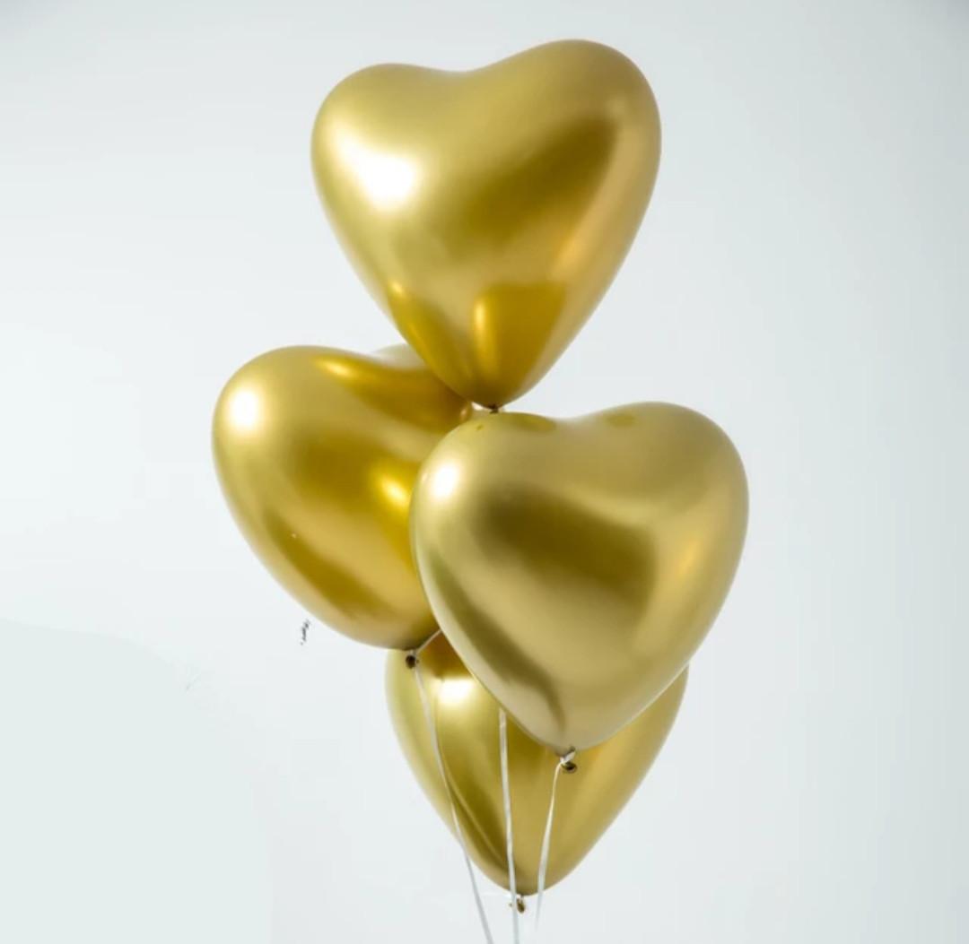 Повітряний латексний куля серце золото хром з дзеркальним ефектом 30 см