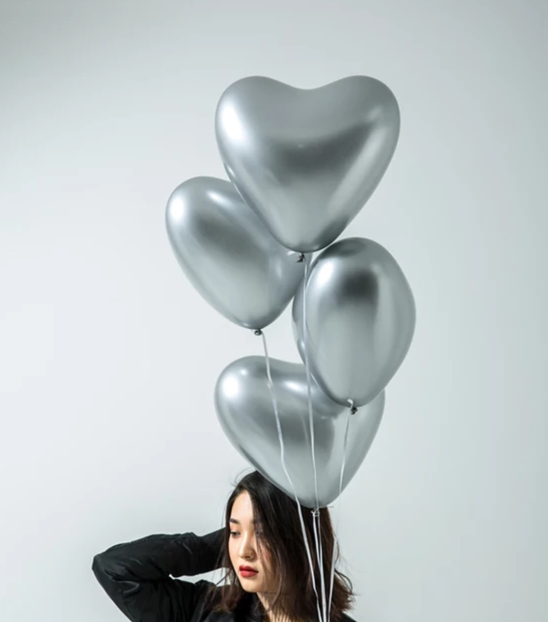Повітряний латексний куля серце срібло хром з дзеркальним ефектом 30 см