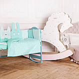 Комплект постельного белья с бортиками, одеялом и подушкой  в кроватку Зверушки в расцветках, фото 4
