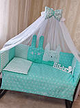 Комплект постельного белья с бортиками, одеялом и подушкой  в кроватку Зверушки в расцветках, фото 6