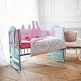 Комплект постельного белья с бортиками, одеялом и подушкой  в кроватку Зверушки в расцветках, фото 7