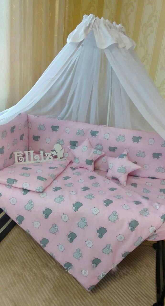 Комплект детского постельного белья с бортиками  в кроватку для девочки