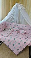Комплект детского постельного белья с бортиками  в кроватку для девочки, фото 1