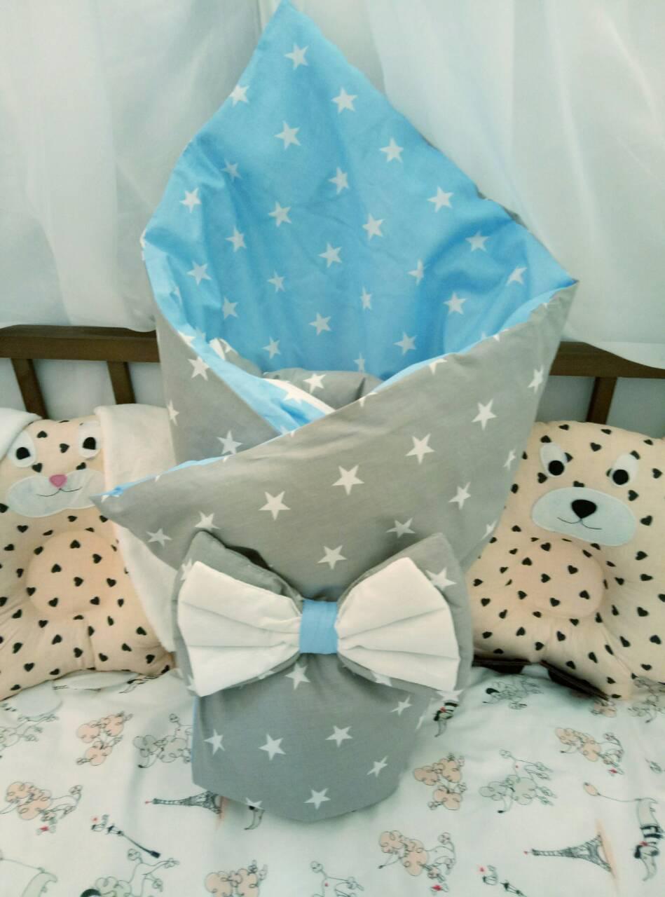Конверт-одеяло легкий на выписку для мальчика со съемным синтепоном 100х80 см