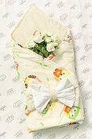 Двухсторонний стеганный конверт-плед для новорожденных 78х78 см