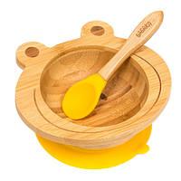 Набор детской посуды из бамбука на присоске Бабака, 250 мл. Желтая - 140117