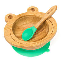 Набор детской посуды из бамбука на присоске Бабака, 250 мл. Зеленая - 140113