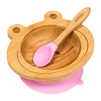 Набор детской посуды из бамбука на присоске Бабака, 250 мл. Розовая - 140114