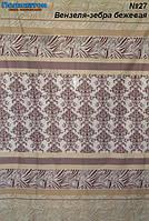Ткань постельная поликоттон -  вензеля зебра бежевая.
