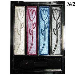 Тени Meis MS-0401 4-х цветные Белые, Розовые, Голубые, Серые Компактные Тон 02