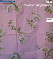 Ткань постельная поликоттон -  ромашки на розовом.