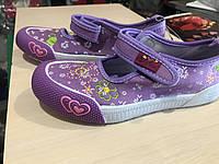 Кеды -мокасины текстильные для девочки на липучках