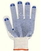 Перчатки защитные белые (7 ниток с ПВХ точками)