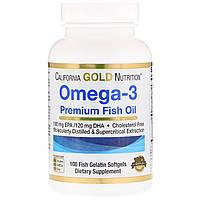 Омега-3 Premium fish oil рыбий жир  California Gold Nutrition 100 softgels