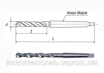 Сверло 28,25 мм, к/х, Р6М5 (пр-во СССР), ср. серия, 296/175 мм, КМ-3, класс точн. В1