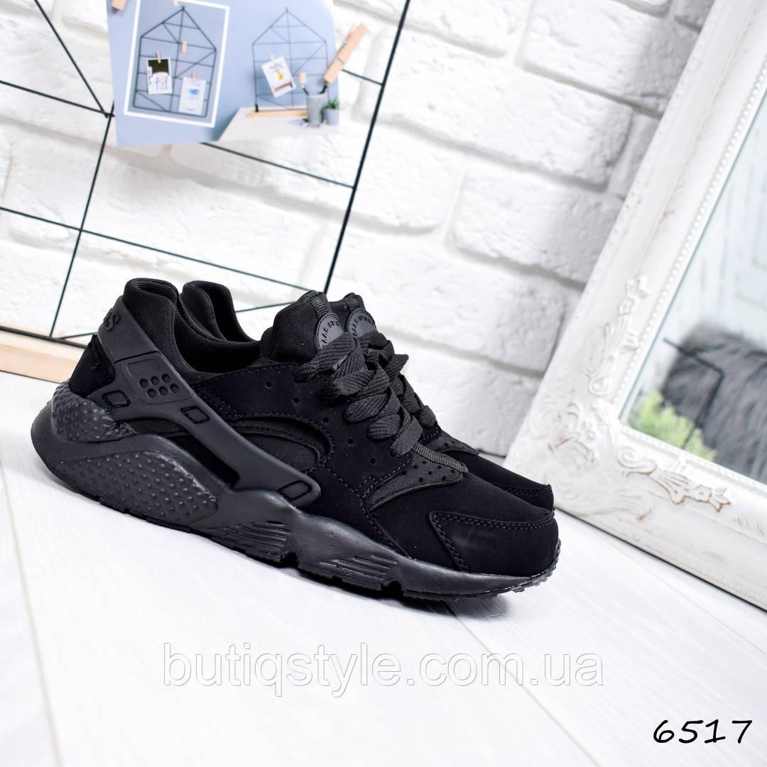 38 размер! Кроссовки женские черные эко-нубук