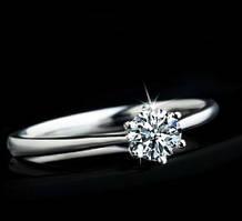 """Классическое кольцо с горным хрусталем 0.7 карат """"Любовь"""""""