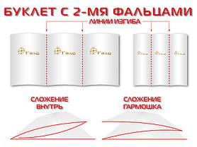 Изготовление евробуклетов (2000шт/300 г/м²/2 бига, Защитный лак: матовый 1+1, 5 дней), фото 2