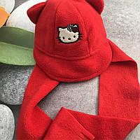 Детская демисезонная шапочка с шарфиком для девочки 6-9 месяца