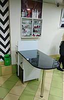 Стіл для манікюру зі скляною стільницею, фото 1