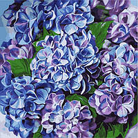Картина по номерам без коробки Идейка Голубая гортензия (KHO2079) 40 х 40 см