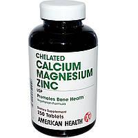 Кальций магний цинк (Calcium Magnesium Zinc), American Health, 250 таблеток
