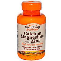 Кальций магний цинк (Calcium Magnesium Zinc), Rexall Sundown Naturals,100 таблеток