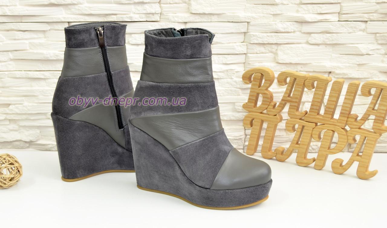 255337f42 37 размер · Женские демисезонные ботинки на высокой платформе, натуральная  замша и кожа серого цвета. 37 размер