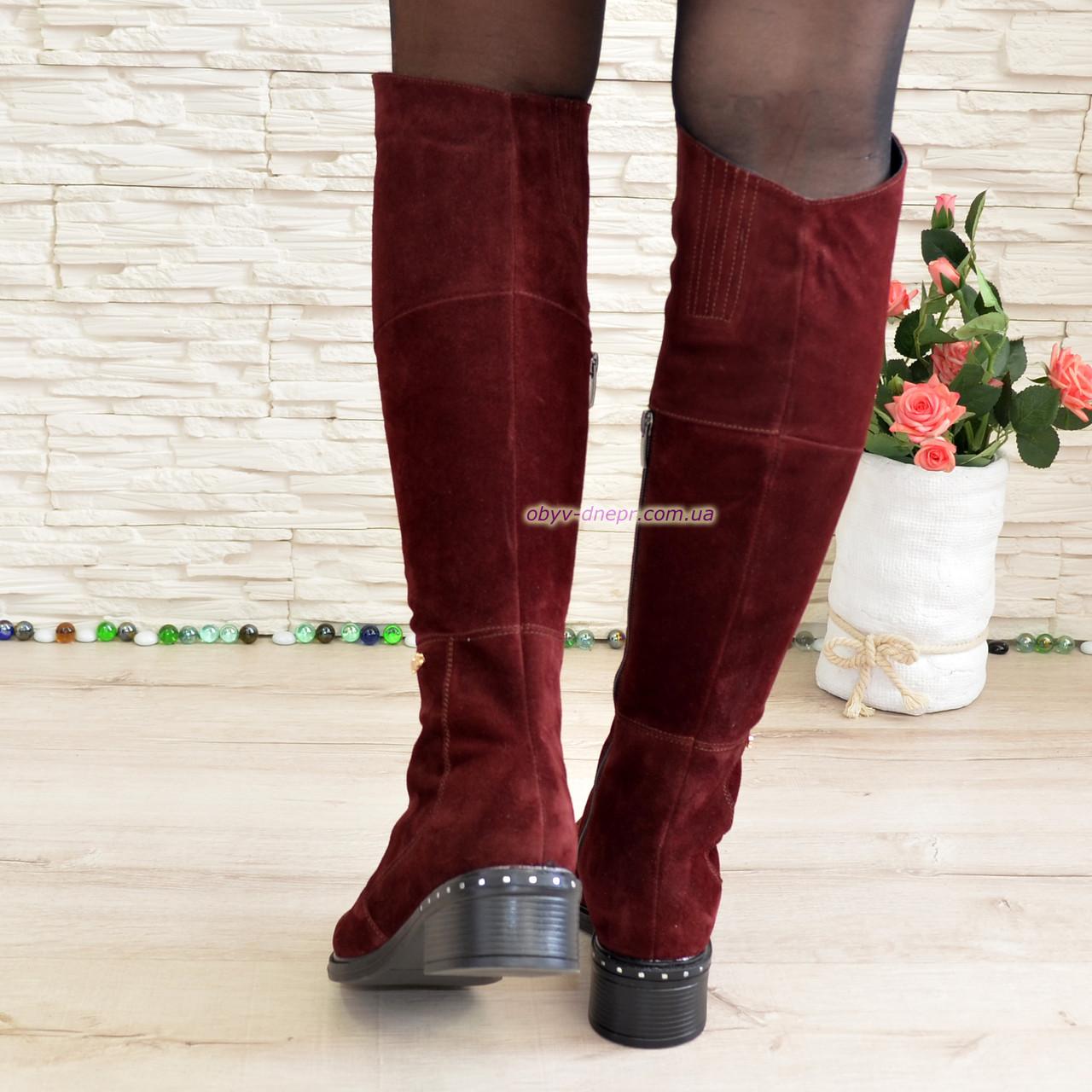 9d06e215cd6d Женские демисезонные замшевые ботфорты на невысоком каблуке, цвет бордо. 37  размер