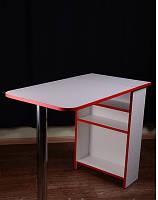 Стол для маникюра раскладной, белый с красной кромкой, фото 1