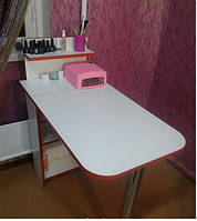 Маникюрный стол с полочкой, белый с красной кромкой