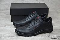 Мужские кожаные кроссовки Columbia. Черные. Натуральная кожа, фото 1