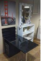 Маникюрный стол, черный стеклянный, фото 1